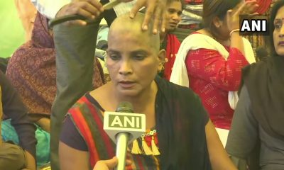 A woman is sending hair to Rahul Gandhi with his head jam
