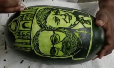 The TamilNadu-based artist painted Donald Trump and Modi on a watermelon