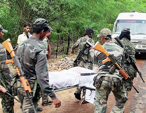 In Sukma in Chhattisgarh, there was an encounter between the Naxalites and the police force